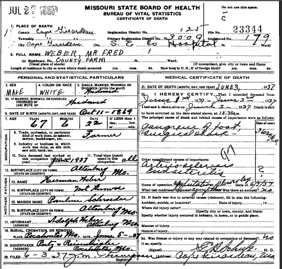 Gottfried Weber death certificate