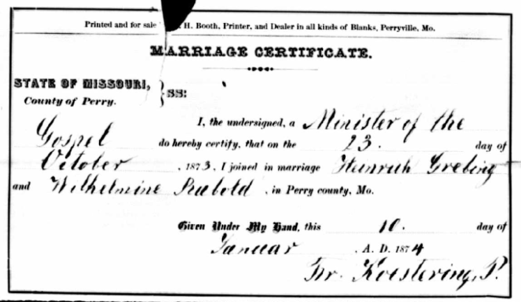 Grebing Rabold marriage record Perry County MO