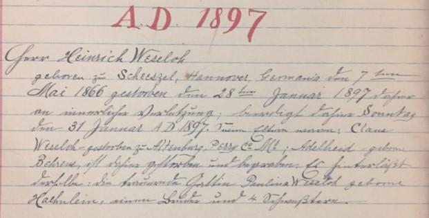 Heinrich Weseloh death record - Christ, Jacob, IL
