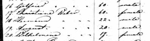 Herman Weber Bremerhaven passenger list 1852