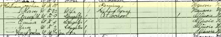 Joachim Heitmann 1880 census Fountain Bluff Township IL