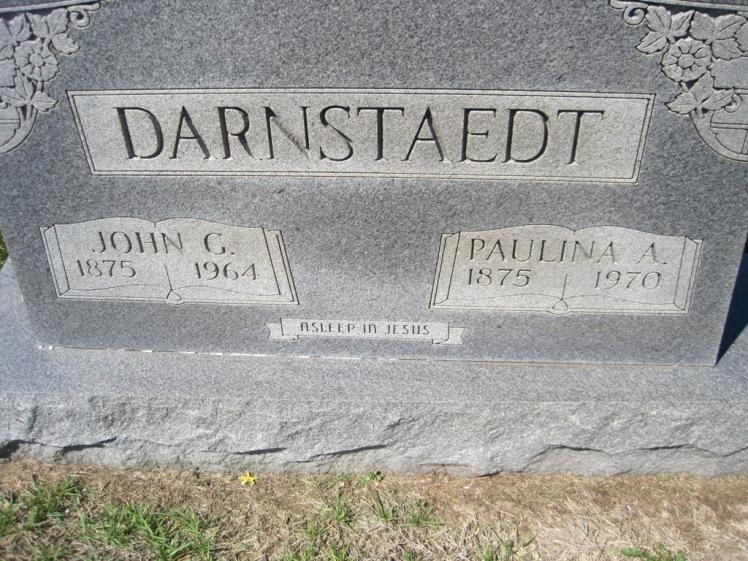 John and Paulina Darnstaedt gravestone Christ Jacob IL