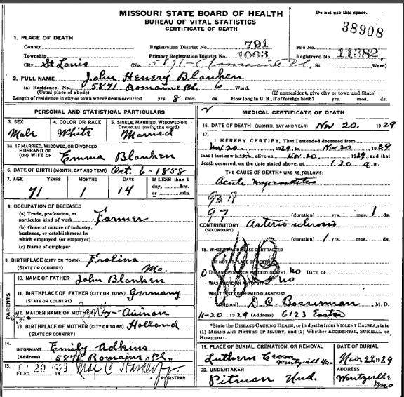 John Blanken death certificate