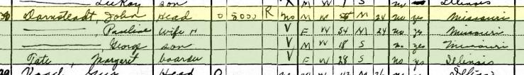 John Darnstaedt 1930 census Fountain Bluff Township IL