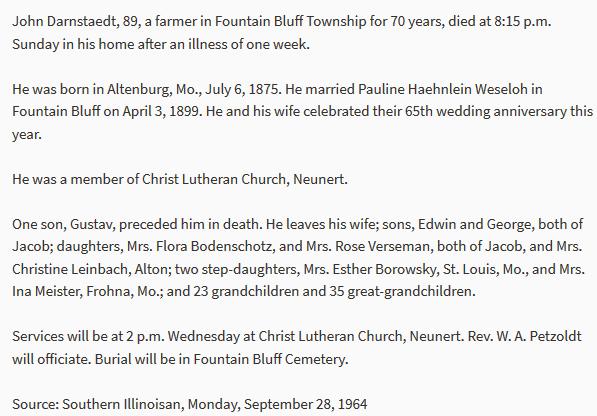 John Darnstaedt obituary