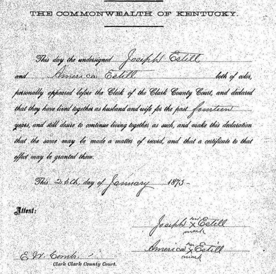 Joseph Estel marriage bond record Clark KY