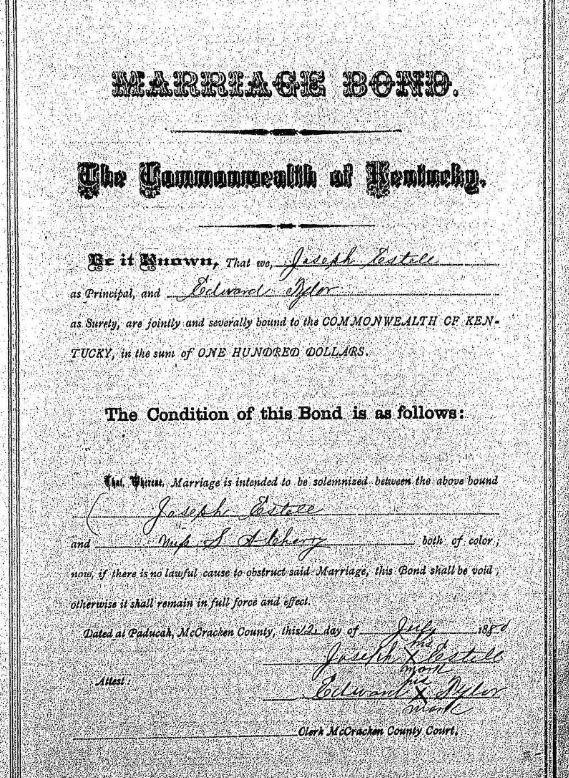 Joseph Estel marriage bond record Paducah KY