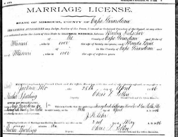 Kutscher Leine marriage license