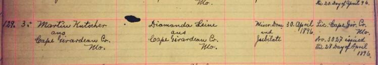 Kutscher Leine marriage record Immanuel New Wells MO
