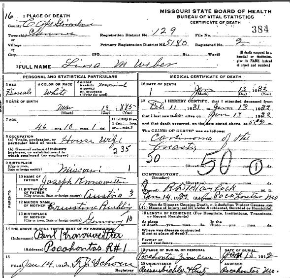 Magdalena Weber death certificate