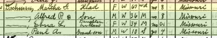Martha Bachmann 1940 census Salem Township MO