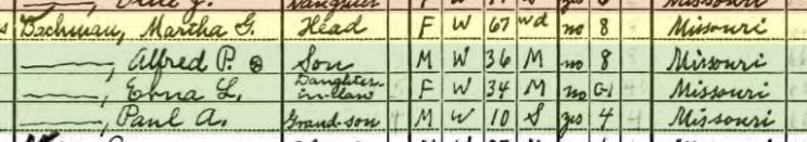 Martha Bachmann 1940 census Salem Township MO