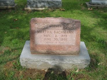 Martha Bachmann gravestone Zion Crosstown MO