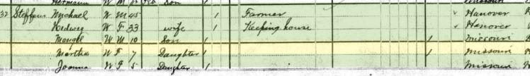 Martha Steffens 1880 census Salem Township MO