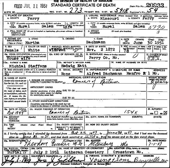 Martha Steffens Bachmann death certificate