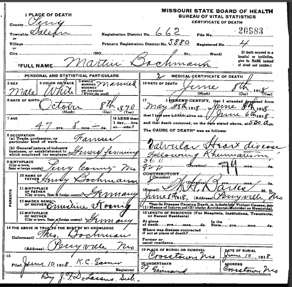 Martin Bachmann death certificate