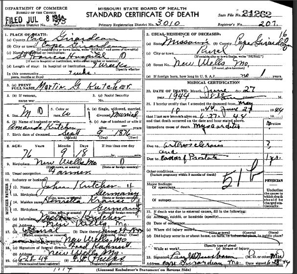 Martin Kutscher death certificate