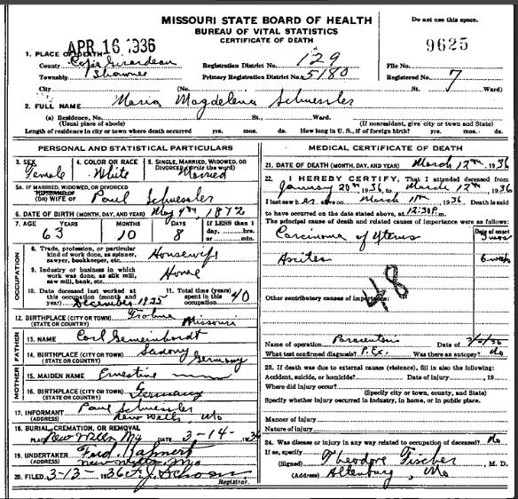 Mary Schuessler death certificate