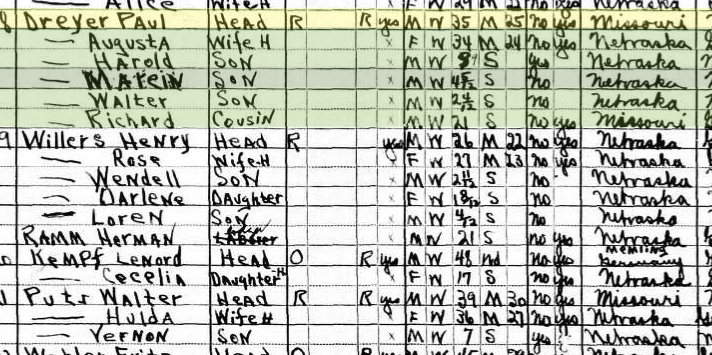 Paul Dreyer 1930 census Brenna NE