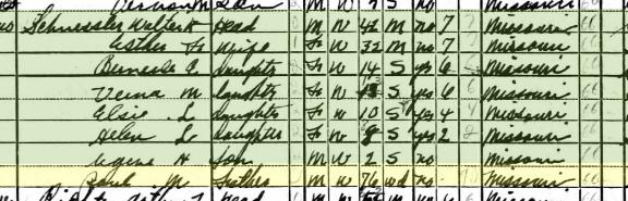 Paul Schuessler 1940 census Shawnee Township MO