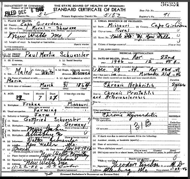 Paul Schuessler death certificate