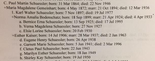 Paul Schuessler descendants Schuessler Family Book