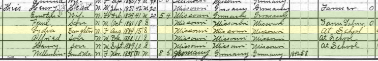 Paul Theiss 1900 census Brazeau Township MO
