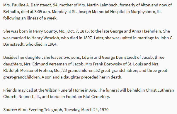 Paulina Darnstaedt obituary