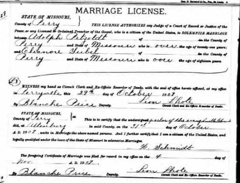 Petzoldt Seibel marriage license