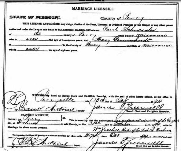 Schuessler Gemeinhardt marriage license