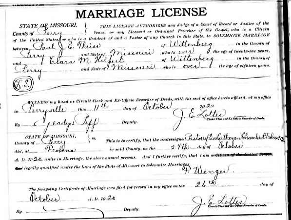 Theiss Hilpert marriage license