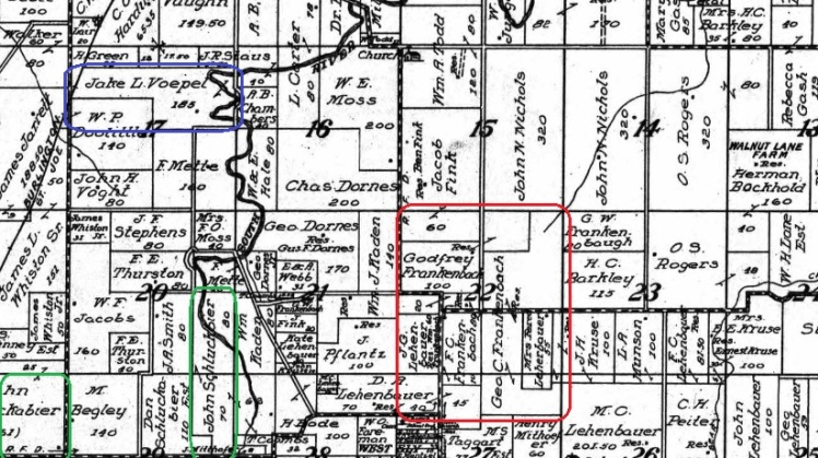 Voepel Frankenbach land map 1913 Marion County MO