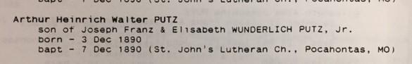 Walter A Putz baptism record St. John's Pocahontas MO