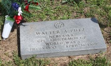 Walter A Putz gravestone Pilger Cemetery NE