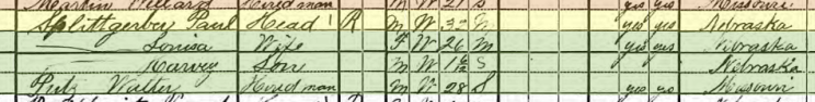 Walter Putz 1920 census Plum Creek Township NE