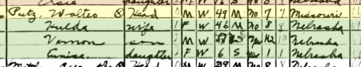 Walter Putz 1940 census Pilger NE