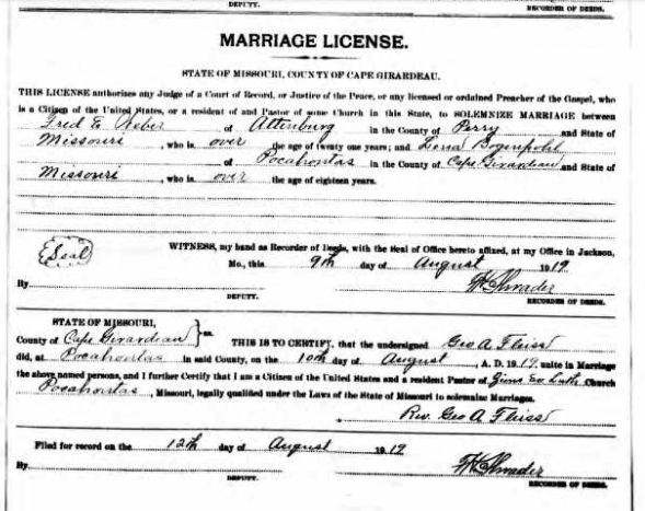 Weber Bogenpohl marriage license