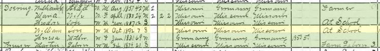 William Doering 1900 census Brazeau Township MO