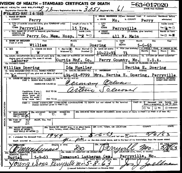 William Doering death certificate