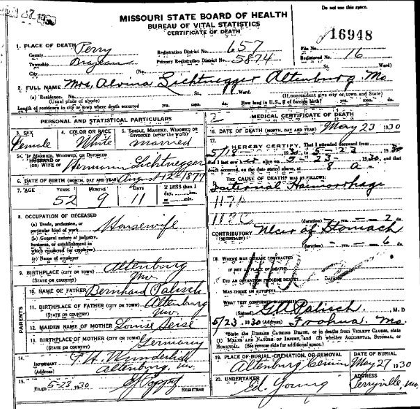 Alvina Lichtenegger death certificate