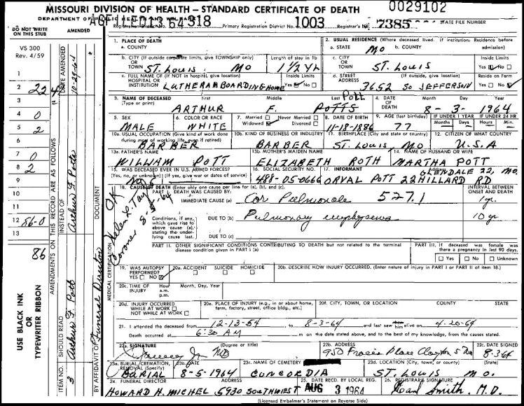 Arthur Pott death certificate