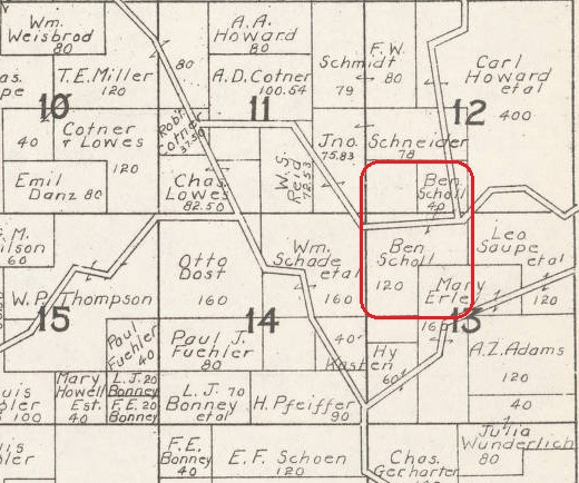 Benjamin Scholl land map 1930 Cape Girardeau County MO