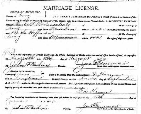 Bodenschatz Hoffmann marriage license