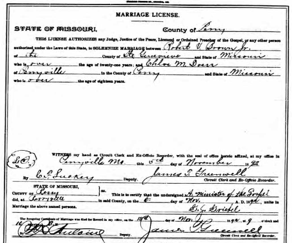 Brown Doerr marriage license