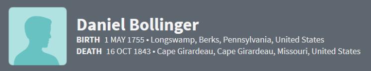 Daniel Bollinger 1755 Ancestry
