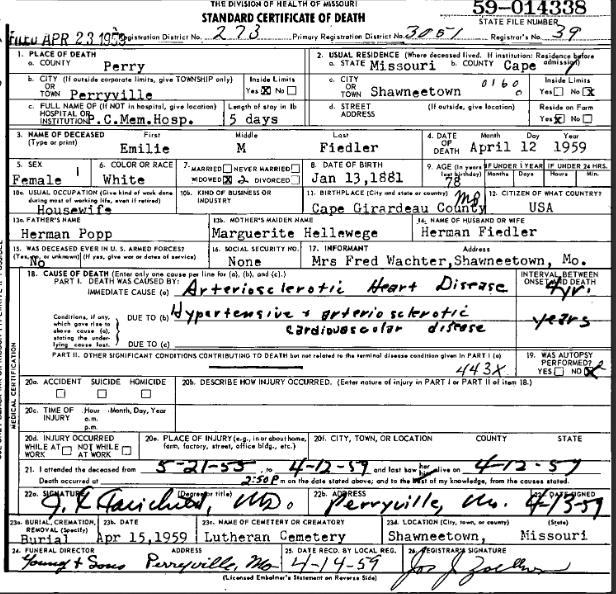 Emilie Fiedler death certificate