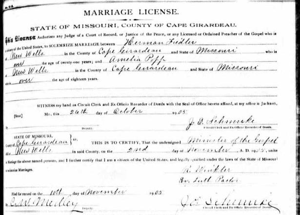 Fiedler Popp marriage license