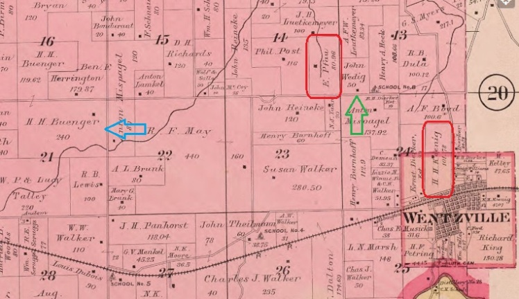 H.H. Koenig land map 1905 Wentzville MO