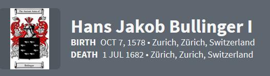 Hans Jakob Bullinger I 1578 Ancestry