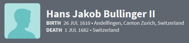 Hans Jakob Bullinger II 1610 Ancestry